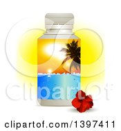 3d Plastic Water Bottle With A Tropical Palm Tree Sunset Label And A Hibiscus Flower Over Sunshine On White