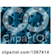 Clipart Of A Background Of 3d Blue Metal Gears Royalty Free Vector Illustration