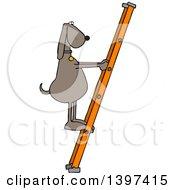Cartoon Brown Dog Climbing A Ladder