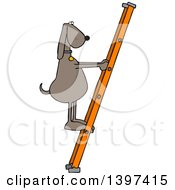 Clipart Of A Cartoon Brown Dog Climbing A Ladder Royalty Free Vector Illustration
