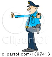 Cartoon Caucasian Male Police Officer Blowing A Whistle And Directing Traffic
