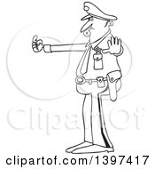 Cartoon Black And White Lineart Male Police Officer Blowing A Whistle And Directing Traffic