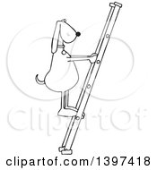 Cartoon Black And White Lineart Dog Climbing A Ladder