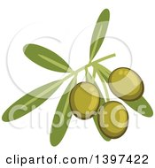Clipart Of A Branch Of Green Olives And Leaves Royalty Free Vector Illustration