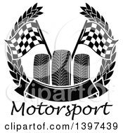 Tires With Checkered Race Flags In A Wreath With A Blank Banner Over Text