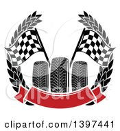 Clipart Of Tires With Checkered Race Flags In A Wreath With A Blank Red Banner Royalty Free Vector Illustration