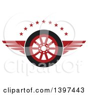 Clipart Of A Flying Tire With Red Wings And Stars Royalty Free Vector Illustration by Vector Tradition SM