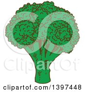 Clipart Of A Sketched Head Of Broccoli Royalty Free Vector Illustration by Vector Tradition SM