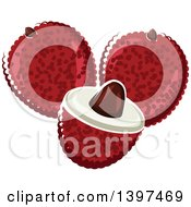 Clipart Of Lychee Fruits Royalty Free Vector Illustration