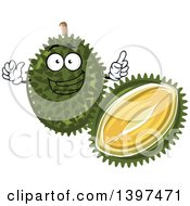 Clipart Of A Durian Fruit Character Royalty Free Vector Illustration by Vector Tradition SM