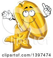 Clipart Of A Carambola Starfruit Character Royalty Free Vector Illustration