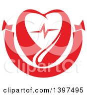 Clipart Of A Red Blood Drop Heart With A Beat Royalty Free Vector Illustration