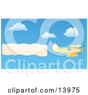 Pilot Flying A Yellow Biplane With A Plane Banner Over A Blue Sky With White Puffy Clouds Clipart Illustration