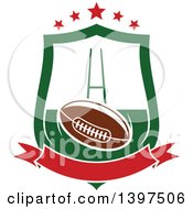 American Football In A Shield With Stars And A Blank Banner