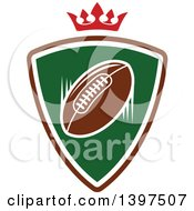 American Football In A Shield Under A Crown