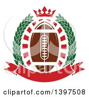 Clipart Of An American Football In A Wreath With A Crown And Banner Royalty Free Vector Illustration by Vector Tradition SM