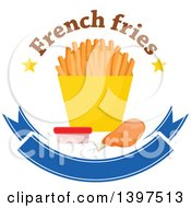 Clipart Of A Chicken Drumstick And French Fries With Text A Side Of Ketchup Over A Blank Blue Banner Royalty Free Vector Illustration