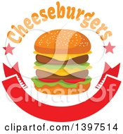 Clipart Of A Double Cheeseburger With Text Over A Blank Banner Royalty Free Vector Illustration by Vector Tradition SM