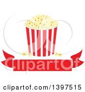 Clipart Of A Popcorn Bucket Over A Blank Banner Royalty Free Vector Illustration by Vector Tradition SM