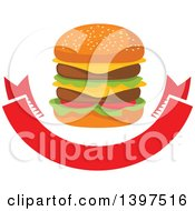 Clipart Of A Double Cheeseburger Over A Blank Banner Royalty Free Vector Illustration by Vector Tradition SM