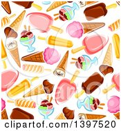 Clipart Of A Seamless Background Pattern Of Ice Cream Royalty Free Vector Illustration by Vector Tradition SM