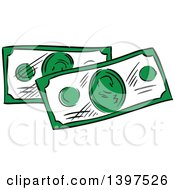Clipart Of Sketched Cash Money Royalty Free Vector Illustration