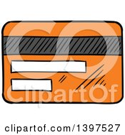 Clipart Of A Sketched Orange Credit Card Royalty Free Vector Illustration by Vector Tradition SM