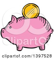 Clipart Of A Sketched Piggy Bank With A Gold Coin Royalty Free Vector Illustration