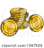 Clipart Of Sketched Coins Royalty Free Vector Illustration by Vector Tradition SM