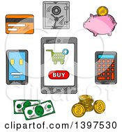 Clipart Of Sketched Retail And Money Icons Royalty Free Vector Illustration