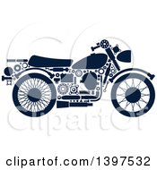 Motorcycle With Blue Silhouetted Visible Mechanical Parts