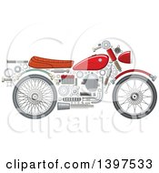Clipart Of A Motorcycle With Visible Mechanical Parts Royalty Free Vector Illustration