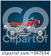 Motorcycle With Visible Mechanical Parts On Blue