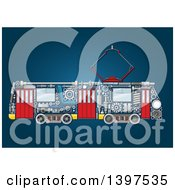 Clipart Of A Trolley With Visible Mechanical Parts On Blue Royalty Free Vector Illustration