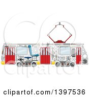Clipart Of A Trolley With Visible Mechanical Parts Royalty Free Vector Illustration