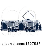 Clipart Of A Trolley With Silhouetted Blue Visible Mechanical Parts Royalty Free Vector Illustration