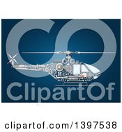 Clipart Of A Helicopter With Visible Mechanical Parts On Blue Royalty Free Vector Illustration