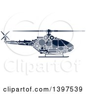 Clipart Of A Helicopter With Visible Blue Silhouetted Mechanical Parts Royalty Free Vector Illustration
