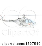 Clipart Of A Helicopter With Visible Mechanical Parts Royalty Free Vector Illustration