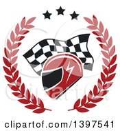 Clipart Of A Racing Helmet Over A Checkered Flag In A Wreath Royalty Free Vector Illustration by Seamartini Graphics