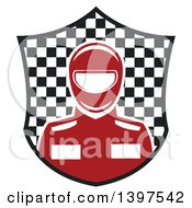 Clipart Of A Race Car Driver In A Checkered Shield Royalty Free Vector Illustration