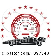Clipart Of A Profiled Race Carover A Speedometer In A Circle Of Stars Royalty Free Vector Illustration