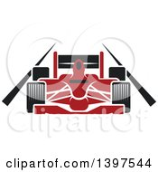 Clipart Of A Red Race Car On A Track Royalty Free Vector Illustration