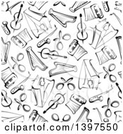 Clipart Of A Seamless Background Pattern Of Black And White Instruments Royalty Free Vector Illustration
