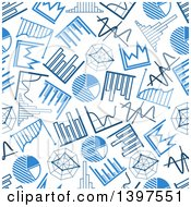 Seamless Background Pattern Of Blue Charts And Graphs