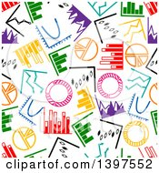 Seamless Background Pattern Of Colorful Charts And Graphs