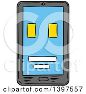 Clipart Of A Sketched Smart Phone Royalty Free Vector Illustration