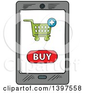 Clipart Of A Sketched Smart Phone On A Purchase Screen Royalty Free Vector Illustration