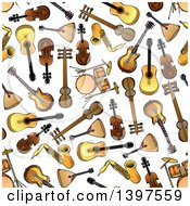 Clipart Of A Seamless Background Pattern Of Instruments Royalty Free Vector Illustration by Vector Tradition SM