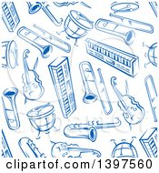 Clipart Of A Seamless Background Pattern Of Blue Instruments Royalty Free Vector Illustration